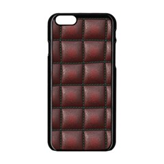 Red Cell Leather Retro Car Seat Textures Apple Iphone 6/6s Black Enamel Case