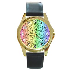 A Creative Colorful Background Round Gold Metal Watch