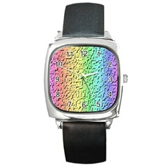 A Creative Colorful Background Square Metal Watch
