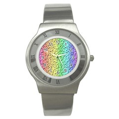 A Creative Colorful Background Stainless Steel Watch