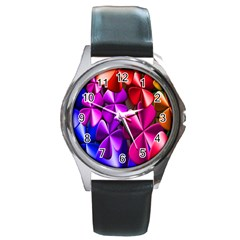 Colorful Flower Floral Rainbow Round Metal Watch