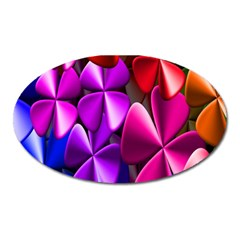 Colorful Flower Floral Rainbow Oval Magnet