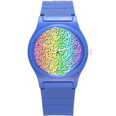 A Creative Colorful Background Round Plastic Sport Watch (S)