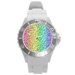 A Creative Colorful Background Round Plastic Sport Watch (l)