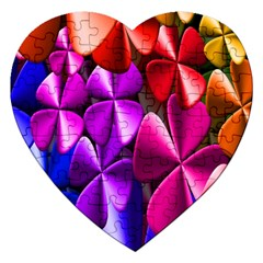 Colorful Flower Floral Rainbow Jigsaw Puzzle (Heart)