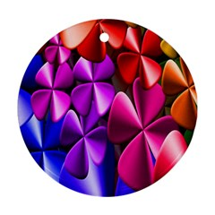 Colorful Flower Floral Rainbow Round Ornament (Two Sides)