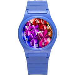 Colorful Flower Floral Rainbow Round Plastic Sport Watch (S)