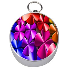 Colorful Flower Floral Rainbow Silver Compasses