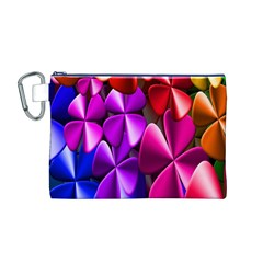 Colorful Flower Floral Rainbow Canvas Cosmetic Bag (M)