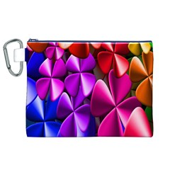 Colorful Flower Floral Rainbow Canvas Cosmetic Bag (XL)