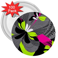 Abstract Illustration Nameless Fantasy 3  Buttons (100 Pack)