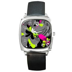 Abstract Illustration Nameless Fantasy Square Metal Watch