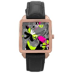 Abstract Illustration Nameless Fantasy Rose Gold Leather Watch