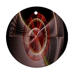 Fractal Fabric Ball Isolated On Black Background Ornament (round)