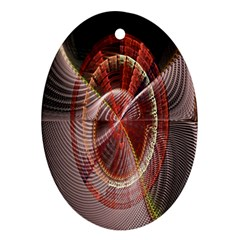 Fractal Fabric Ball Isolated On Black Background Ornament (oval)