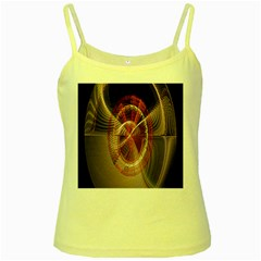 Fractal Fabric Ball Isolated On Black Background Yellow Spaghetti Tank