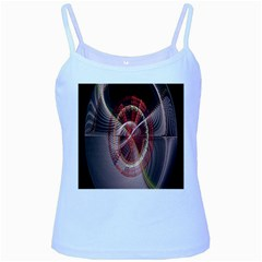 Fractal Fabric Ball Isolated On Black Background Baby Blue Spaghetti Tank