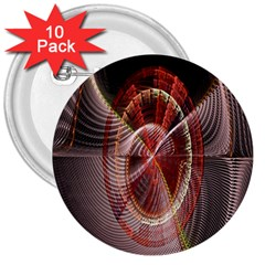 Fractal Fabric Ball Isolated On Black Background 3  Buttons (10 pack)