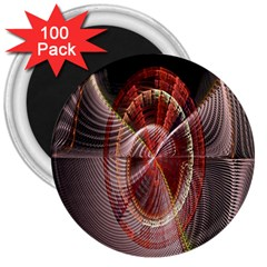 Fractal Fabric Ball Isolated On Black Background 3  Magnets (100 Pack)