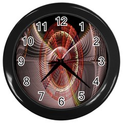 Fractal Fabric Ball Isolated On Black Background Wall Clocks (Black)