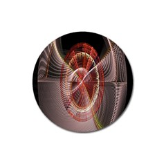 Fractal Fabric Ball Isolated On Black Background Magnet 3  (round)