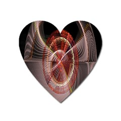 Fractal Fabric Ball Isolated On Black Background Heart Magnet