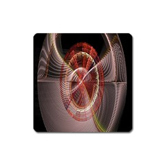 Fractal Fabric Ball Isolated On Black Background Square Magnet