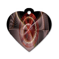 Fractal Fabric Ball Isolated On Black Background Dog Tag Heart (Two Sides)