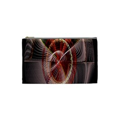 Fractal Fabric Ball Isolated On Black Background Cosmetic Bag (Small)