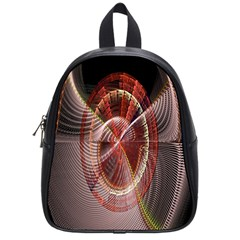 Fractal Fabric Ball Isolated On Black Background School Bags (Small)