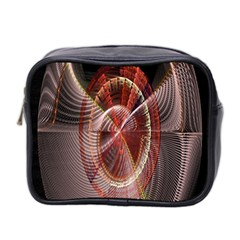 Fractal Fabric Ball Isolated On Black Background Mini Toiletries Bag 2-Side