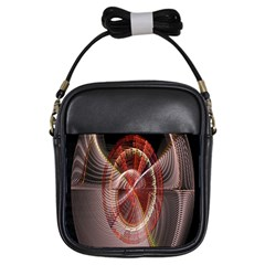 Fractal Fabric Ball Isolated On Black Background Girls Sling Bags