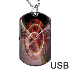 Fractal Fabric Ball Isolated On Black Background Dog Tag Usb Flash (two Sides)