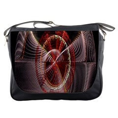 Fractal Fabric Ball Isolated On Black Background Messenger Bags