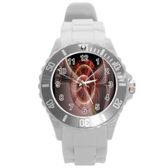 Fractal Fabric Ball Isolated On Black Background Round Plastic Sport Watch (l)