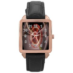 Fractal Fabric Ball Isolated On Black Background Rose Gold Leather Watch