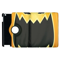 Halloween Pumpkin Orange Mask Face Sinister Eye Black Apple iPad 3/4 Flip 360 Case