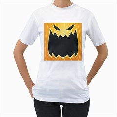 Halloween Pumpkin Orange Mask Face Sinister Eye Black Women s T-Shirt (White)