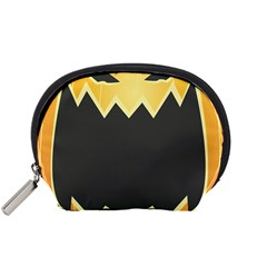 Halloween Pumpkin Orange Mask Face Sinister Eye Black Accessory Pouches (Small)