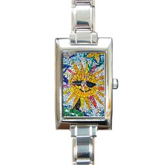 Sun From Mosaic Background Rectangle Italian Charm Watch