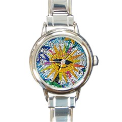 Sun From Mosaic Background Round Italian Charm Watch