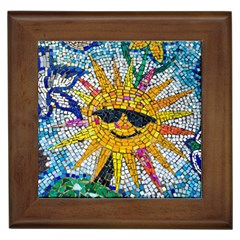 Sun From Mosaic Background Framed Tiles