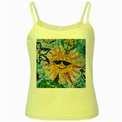 Sun From Mosaic Background Yellow Spaghetti Tank