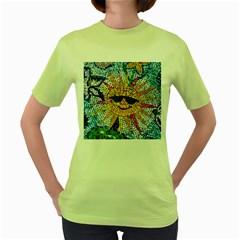 Sun From Mosaic Background Women s Green T Shirt