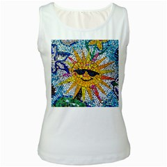 Sun From Mosaic Background Women s White Tank Top
