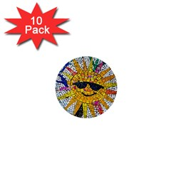 Sun From Mosaic Background 1  Mini Buttons (10 pack)