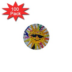 Sun From Mosaic Background 1  Mini Buttons (100 pack)