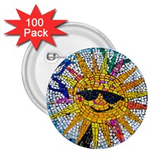 Sun From Mosaic Background 2.25  Buttons (100 pack)