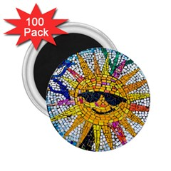 Sun From Mosaic Background 2 25  Magnets (100 Pack)
