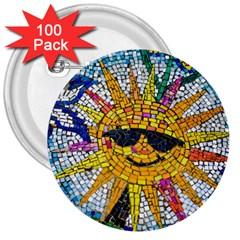 Sun From Mosaic Background 3  Buttons (100 pack)